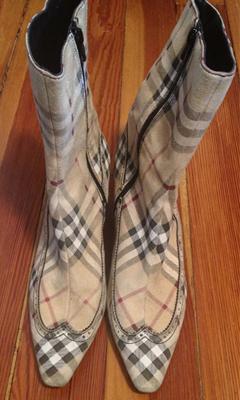 Mid Calf Burberry Print Boot