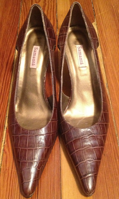 Croc Print Leather Kitten Heel