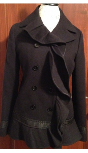 Double Breasted Peacoat with Ruffle Detailing