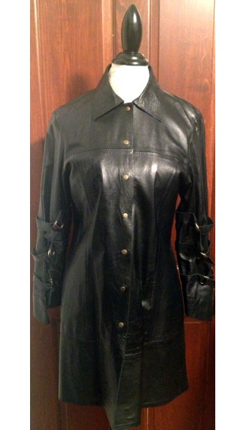 Leather Car Coat with Buckled Sleeves
