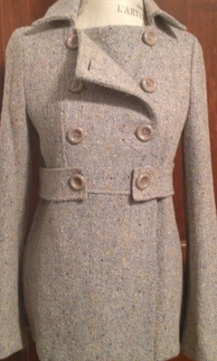 Tweed Double Breasted Peacoat with Side Ties