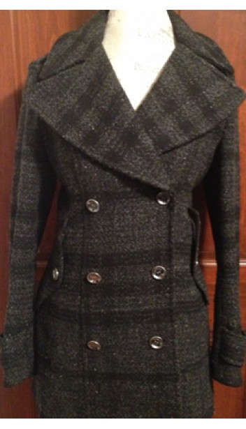 Tweed Double Breasted Peacoat with Wide Lapels