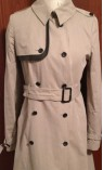 Trench Coat with Leather Detailing