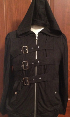 Zip-Up Hooded Jacket with Front Buckles