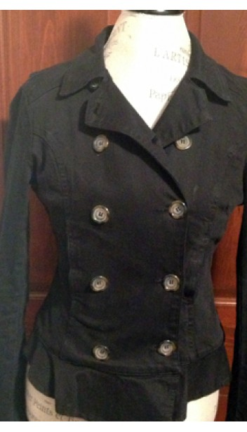 Double Breasted Sherpa Lined Denim Jacket with Peplum Back