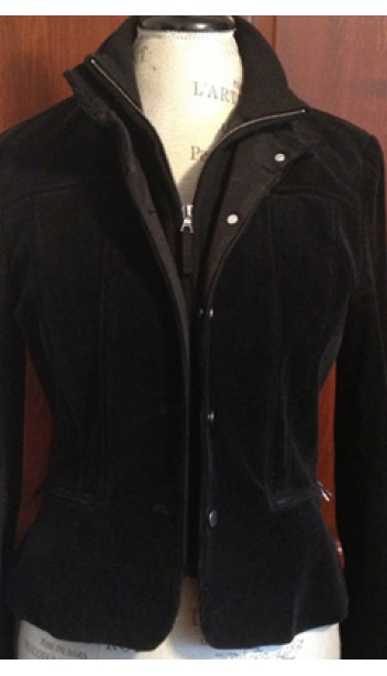 Button and Zip-Up Corduroy Jacket