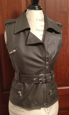 Leather Motorcycle Vest Belted with Zipper Detailing