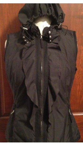 Down Vest with Ruffled Front and Drawstring Hood