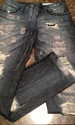 Distressed Jean with Swarovski Black Crystals