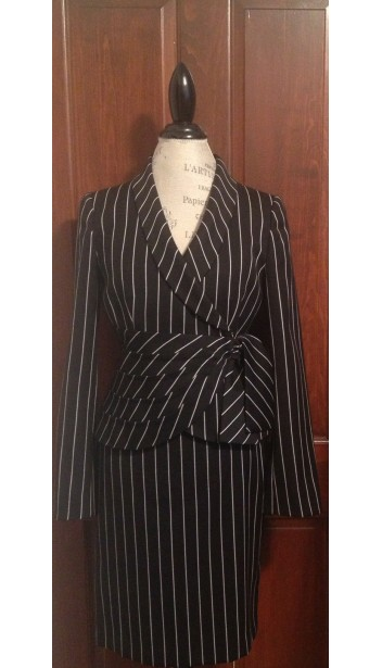 Wide Pinstripe Skirt Suit With Wrap Jacket