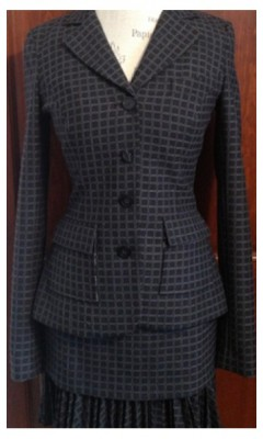 3 Piece Square Patterned Suit with Ruffle Skirt and Cuffed Slacks