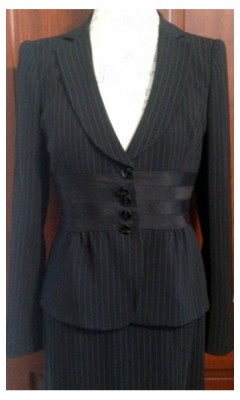 3 Piece Pinstripe Suit with Satin Ribbon Detailed Waist