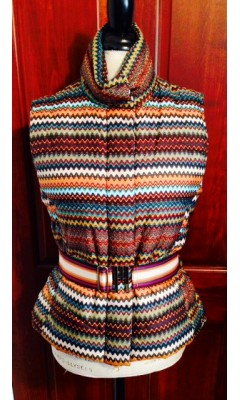Multi-Colored Down Vest with Belt
