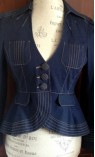 V-neck Denim Jacket with Fitted Waist and Stitching Detail