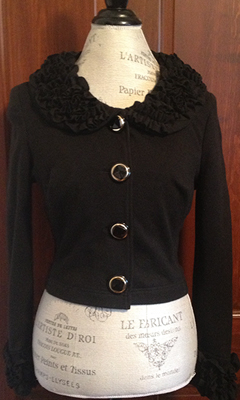 Decorated Button Jacket with Ruffled Collar and Cuffs