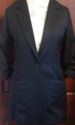 Boyfriend Blazer with 1/2 Sleeves and Perforations