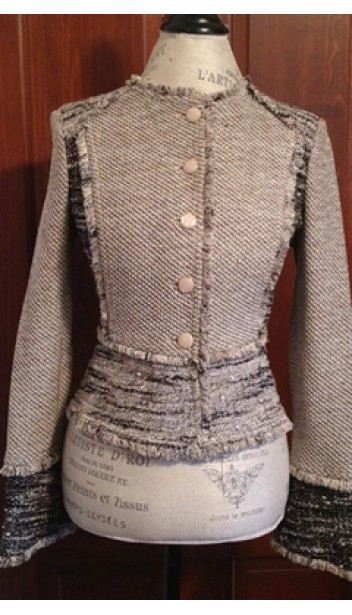 Fitted Tweed Jacket with Raw Hems