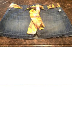 Denim Mini Skirt with Front Slit and Yellow Scarf Belt
