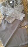 Pewter Pant Suit with Ribbon Detailed Feminine Jacket