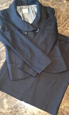 Pinstripe Skirt Suit with Double Breasted Jacket