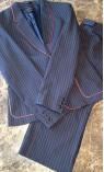 Black Pinstripe with Red Trim Capri Suit