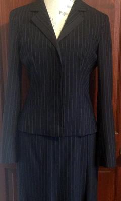 Classic Pinstripe Skirt Suit