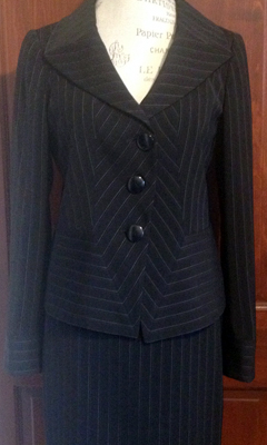Pinstripe Skirt Suit with Asymmetric Patterned Detail