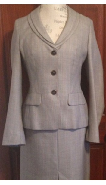 Skirt Suit with Classic Jacket and Pleated Skirt