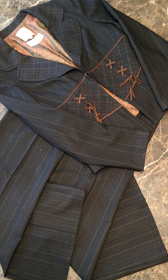 3 Piece Suede Trim Suit