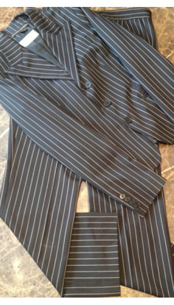 Black and White Pinstripe Pant Suit