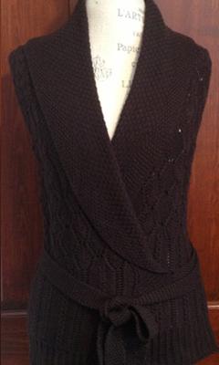 Cable Knit Wrap Vest