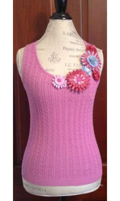 Cable Knit Tank Top with Flowered Neckline