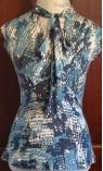 V-neck Snakeskin Print Top with Neck Tie