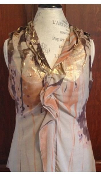 Metallic V-neck Tank Top with Gathered Ribbon Front