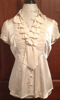 Short Sleeve Silk V-Neck Button-Up with Ruffled Neckline