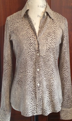 Long Sleeve Dot Print Button-Up Shirt