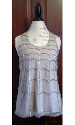 Silk Tank Top with Silver Embellishments