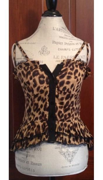 Leopard Print Button-Up Camisole with Tiered Waistline