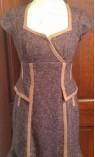 Tweed Short Sleeve Dress with Trumpet Hem, Brown Suede Detailing
