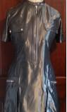Short Sleeve Metallic Zip Front Dress