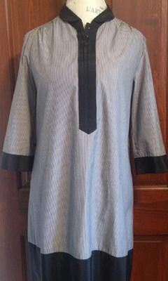 3/4 Sleeve Pinstripe Shirt Dress